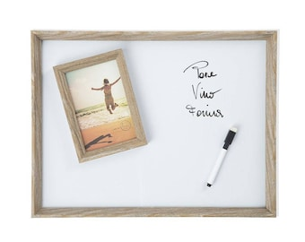Magnetic whiteboard with marker and 32X3X42 cm photo frame