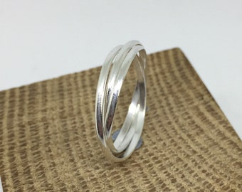 925 sterling silver russian rolling ring trinity rings