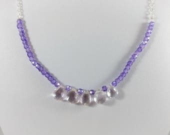 "18.5"" Sparkling Light Purple Amethyst Cubic Zirconia and Pink Amethyst Pear Briolette Sterling Silver Necklace"