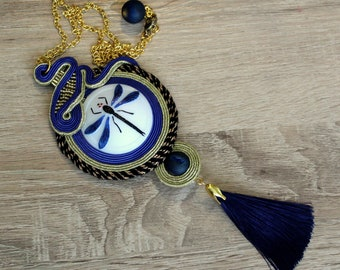 Soutache necklace in blue with dragonfly