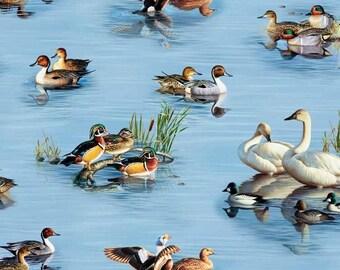Animal Fabric - Waterfowl Birds on Lake Blue - Elizabeth's Studio YARD