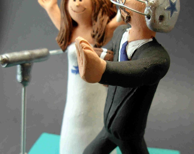 Dallas Cowboys Football Wedding Cake Topper, Football Bride and Groom Wedding Cake Topper, NFL Football Wedding CakeTopper,NCAA Caketopper