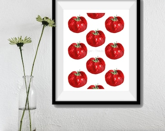 tomatoes art print, Heirloom Tomatoes print, botanical print, kitchen art, country home, foodie gift, Tomatoes watercolor,restaurant decor