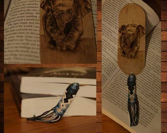 handmade wooden bookmark pyrography baby elephant