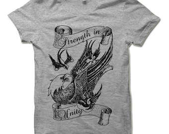 Strength in Unity Shirt. Cool Eagle T-shirt. Tattoo Style Tee Shirt.