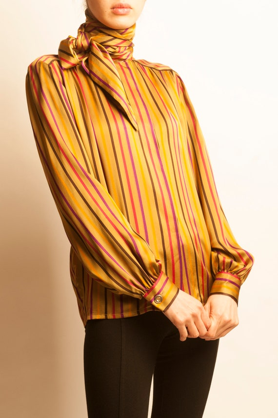 Givenchy nouvelle boutique 1970's stripes motif silk blouse