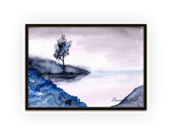 Morning lake watercolor abstract painting tree fog mountain art illustration print wall art deco large poster nature forest farmhouse decor