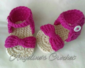 Baby shoes, bow sandals, newborn shoes, girl shoes, newborn gift, baby shower gift, crochet gift, baby girl, baby, gift