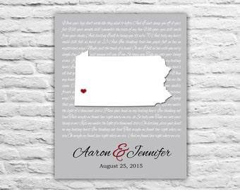 Pennsylvania Wedding Gift, Gift For Friends, Wedding Anniversary, Anniversary Gift for Wife State Art Print, Wedding Vows, Song Lyrics, Him