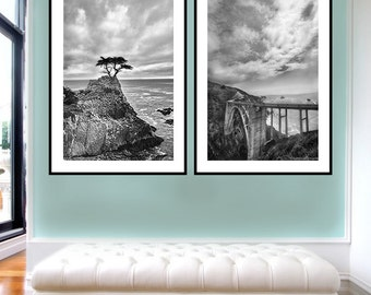 Black and White Coastal Photo Set -- Set of 2 photographs monterey california coast print set black and white photography 16x20 foyer decor