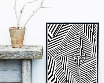 Op Art, Geometric Abstract Art, Printable Art, Geometric Art Print, Black And White Art, Modern Art, Wall Decor, Wall Art, Digital Download
