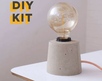 DIY Concrete Lamp Kit and Edison Bulb - textile cable, Concrete lamp, Concrete,Concrete table lamp, Industrial Lamp, Light, Concrete Light