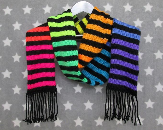 Neon Striped Rainbow Scarf - Long Scarf