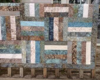 Brown aqua teal batik baby crib quilt lap blanket beach sandpiper
