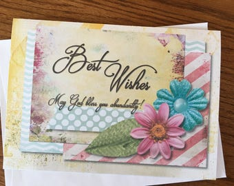 Item #96 - Congratulations/Wedding Greeting Card - Best Wishes - May God Bless You Abundantly!