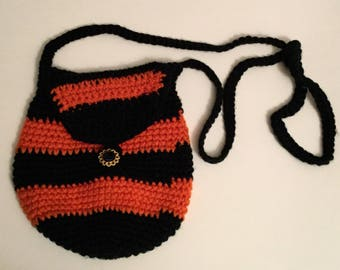 Crocheted Sling Tote , Black and Rust