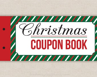 Printable Coupons, Blank Christmas Coupon Book, Love Coupons, Last Minute Present for Wife, Husband, Boyfriend, Girlfriend, Stocking Stuffer