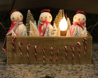 Primitive Christmas,Primitive Snowmen,Snowmen Angels,Christmas Decor,Holiday Decor,Unique Gift,OOAK,Made by M.McGuinness!