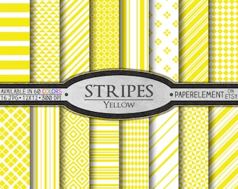 Yellow Striped Digital Paper Pack - Instant Download - Stripes and Diamond Patterned Paper for Digital Scrapbooking