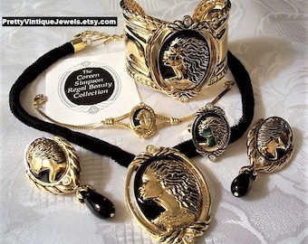 Avon Coreen Simpson Black Woman Cameo Regal Beauty Collection Necklace Ring Gold Tone African American Vintage Cord Beads