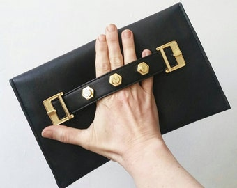 Vintage Black Vegan Designer Envelope Clutch. Vintage Danielle Nicole Clutch. Black Envelope Clutch. Vintage Designer Nordstroms handbag.