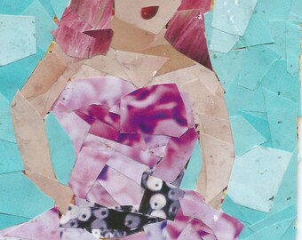 Original ACEO Collage- Lady in a Purple Dress
