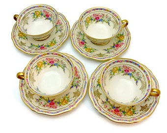 Rosenthal Ivory Bavaria Footed Cups & Saucers, Set of 4, Vintag Evelyn Pattern No. 2778 Fine China Made in Germany 1930s