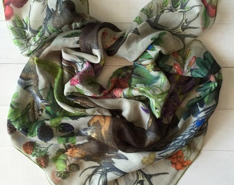 Christmas gift, floral scarf, deer antler scarf, deers scarf, square scarf, floral gifts for her, hipster scarf, animal scarves and wraps