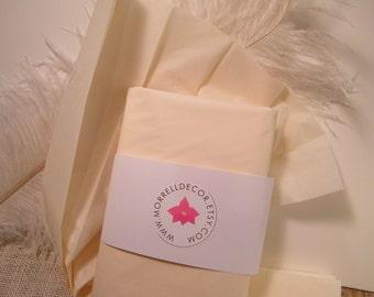 "Cream Tissue Paper Sheets - Cream Vanilla 48 Sheets of 20"" X 30"" DIY Wedding Decor Packaging  Favor Box Packaging - DIY Pom Pom Supplies"