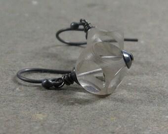 Vintage Clear Bead Earrings Window Cut Glass Beads Oxidized Sterling Silver Earrings