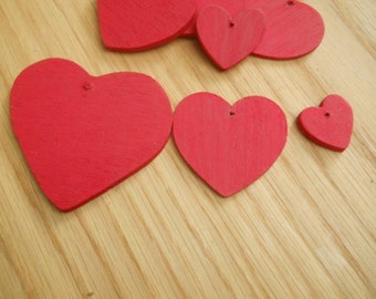Assorted Red Wooden Hearts