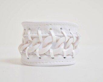 White Leather Cuff Bracelet-Laced White Chain, White Chain Bracelet, Jewellery, Jewelry, Lace Cuff Bracelet, White Bracelet, Lace Cuff