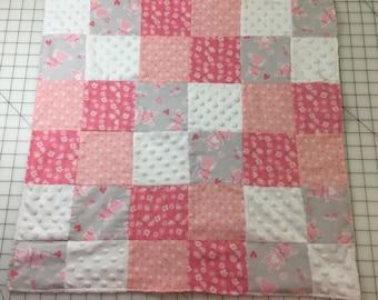 Baby Receiving Blanket - Pink/Bunny