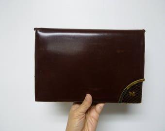 Nina Ricci . 60s 70s burgundy handbag / clutch