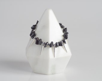 Single Strand Hematite Bracelet with White Gold Hardware and Spikes. Edgy. Modern. Made to Order.