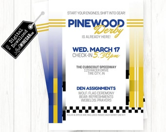Cub Scout Pinewood Derby Invitation, Blue & Yellow Checkered Race Car Invite | Personalized Digital Download 4x6 or 5x7 JPG