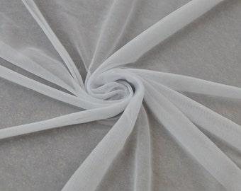Off White Chiffon Matte Jersey Stretch Chiffon Fabric, Drape Chiffon Jersey Fabric,Light Jersey Chiffon Fabrics, Stretch Chiffon - Style 452