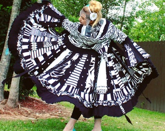 Ready to Ship- Jour et Nuit- Black and White Upcycled Sweater Coat with a Medieval Liripipe Hood and Bell Sleeves by SnugglePants