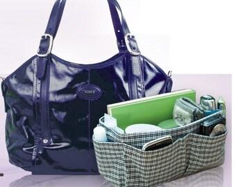 Bag Organizer, Bag Organizer insert, Organizer Bag, Black White Plaid, Medium 22x8cm