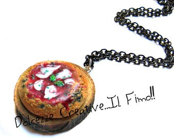 Necklace set with pizza margherita - with Buffalo mozzarella - gift idea made by hand, fimo, cernit