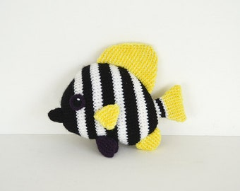 Striped Boarfish Crochet Pattern, Fish Amigurumi Pattern, Crochet Boarfish Pattern, Striped Boarfish Amigurumi, Tropical Fish Pattern