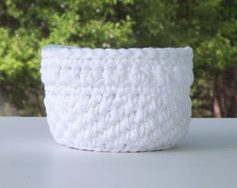 Crocheted Yarn Bowl,  Cotton Bathroom Storage Basket, bath storage bin in White, Housewarming Gift