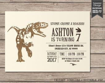 Dinosaur Invitation, Dinosaur Birthday Party, Dinosaur Birthday, Boy Birthday Invitation, Dinosaur Invite - Instant Download Editable PDF
