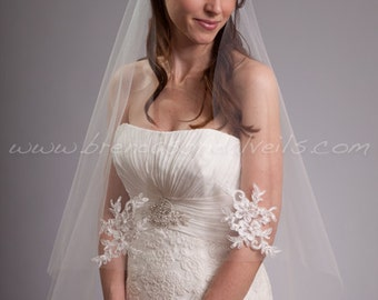 Ivory Bridal Veil Single Layer Light Ivory Alencon Lace, Hand Beaded Lace Wedding Veil - Monica