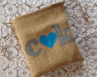 Personalized Dollar Dance Bag, Something Blue Wedding, Burlap Bag, Personalized Tote Bag, Country Wedding, Barn Wedding, Drawstring Bag