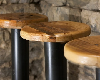 Free Shipping! Bolt Down Urban Industrial Pedestal Bar Stools from Reclaimed Wood