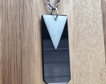 Bone and Vinyl Retro Geometric Necklace Handmade