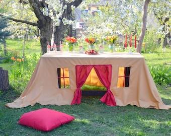 Tablecloth playhouse/ Christmas tablecloth/ Kids party tablecloth/ Kids party decoration/ Play tent/ Fabric playhouse/ Kids indoor playhouse