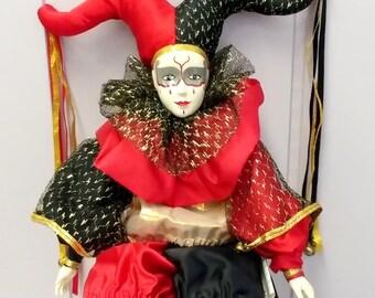 Vintage porcelain Harlequin jester carnival doll