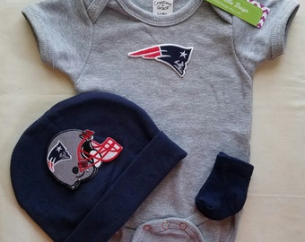 New England Patriots baby outfit-patriots baby-baby patriots baby shower gift-patriots football outfit-patriots baby hat/newborn patriots
